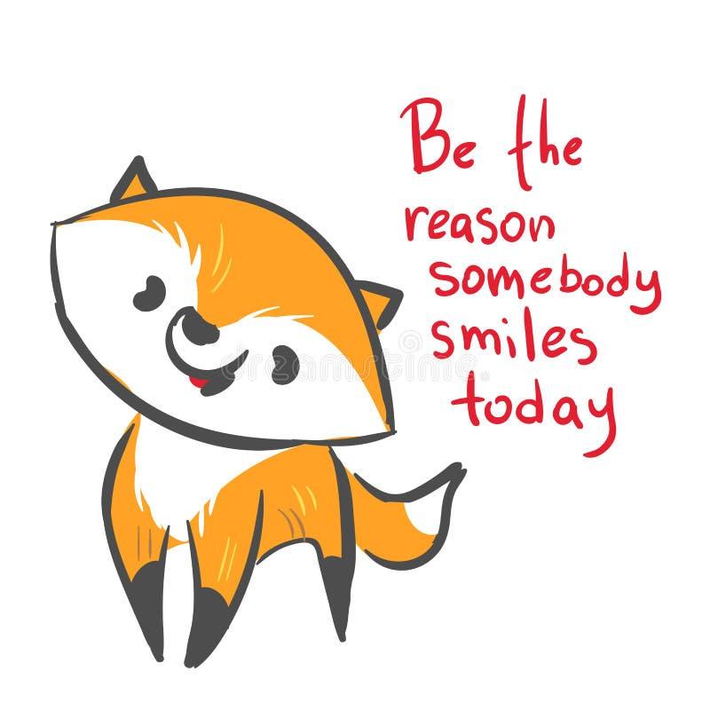 Impresión de la razón de la sonrisa del bebé del zorro del carácter del vector libre illustration