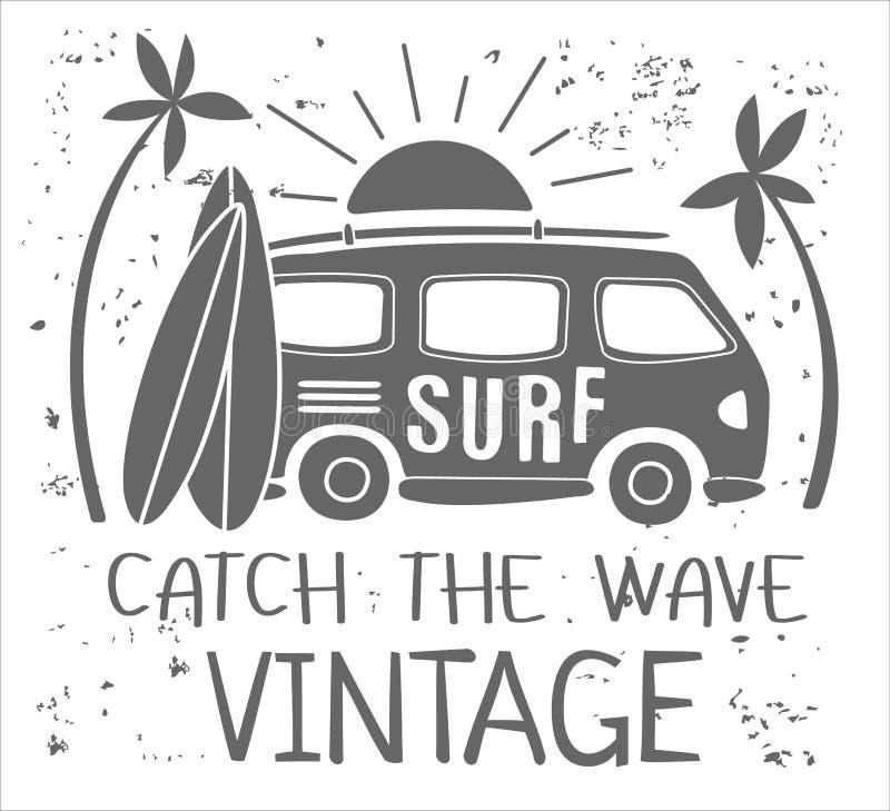 Impresión de la resaca del verano con Mini Van, las palmeras y las letras Vector Illustartion stock de ilustración