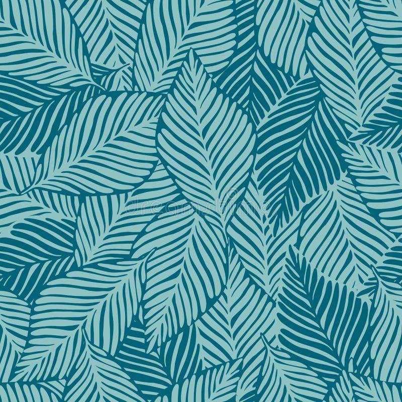 Impresión de la selva de la naturaleza del verano Planta exótica Modelo tropical, hojas de palma inconsútiles ilustración del vector