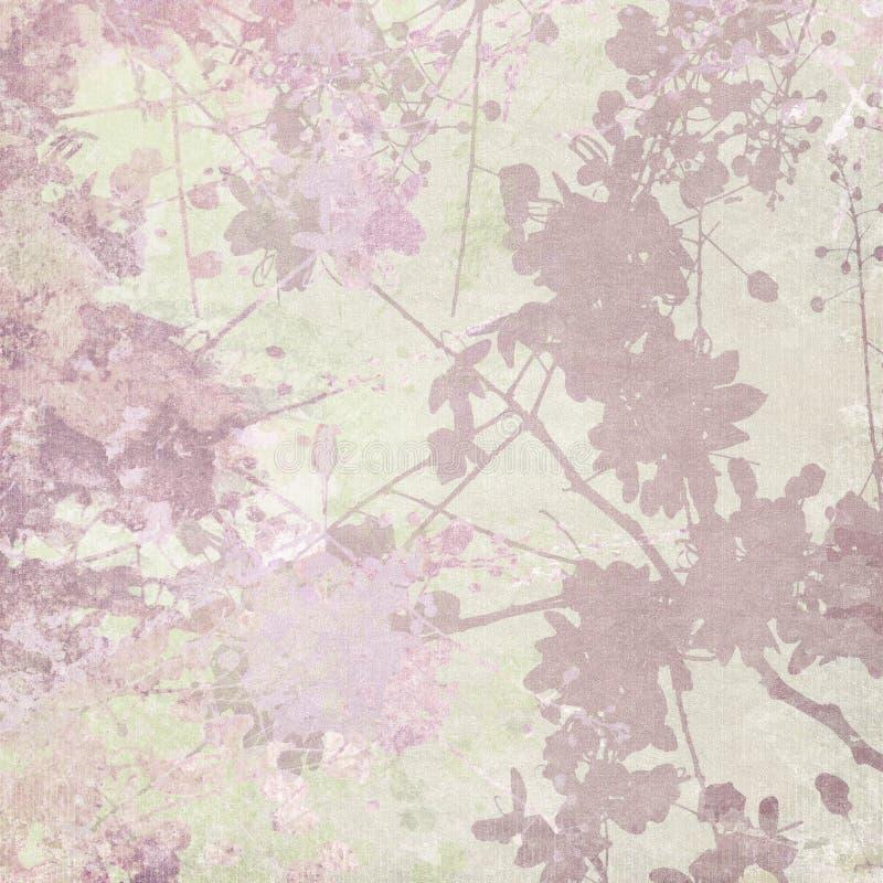 Impresión de la silueta de la flor en fondo en colores pastel stock de ilustración