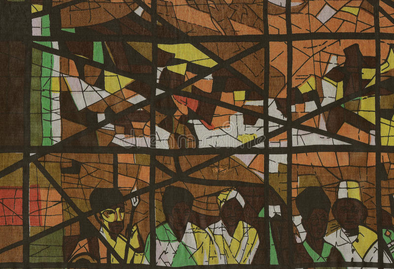 Impresión de la tela como ventana de cristal de colores. fotos de archivo