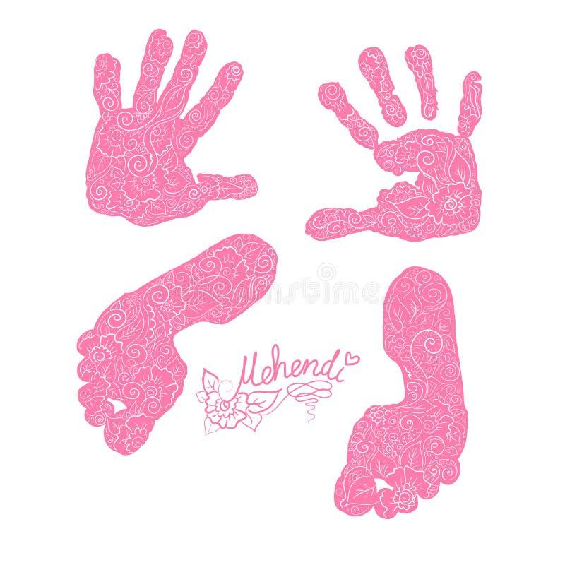 Impresión de las palmas y de los pies de los niños s Sistema de Mehendi stock de ilustración