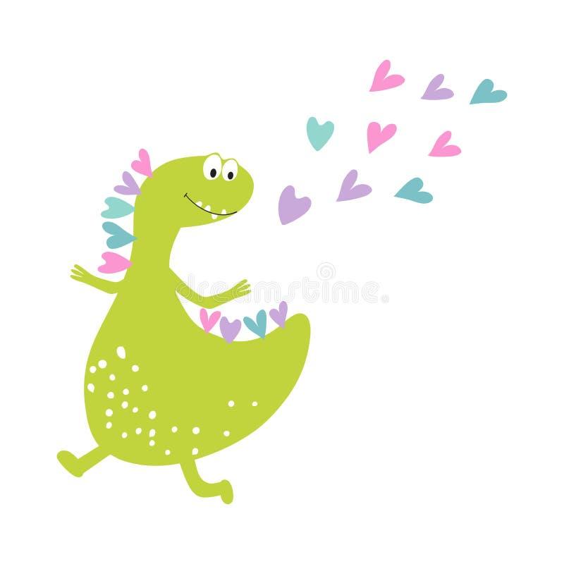 Impresión de las tarjetas de los niños, recuerdos, la moda de los niños Muchacha del dinosaurio que salta y que baila con felicid ilustración del vector