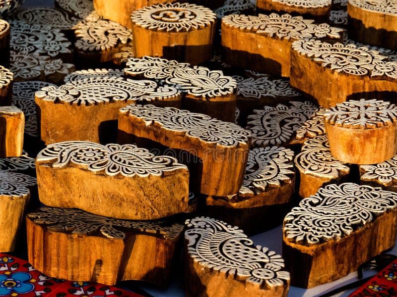 Impresión de madera hecha a mano hermosa la bloque-India fotos de archivo libres de regalías