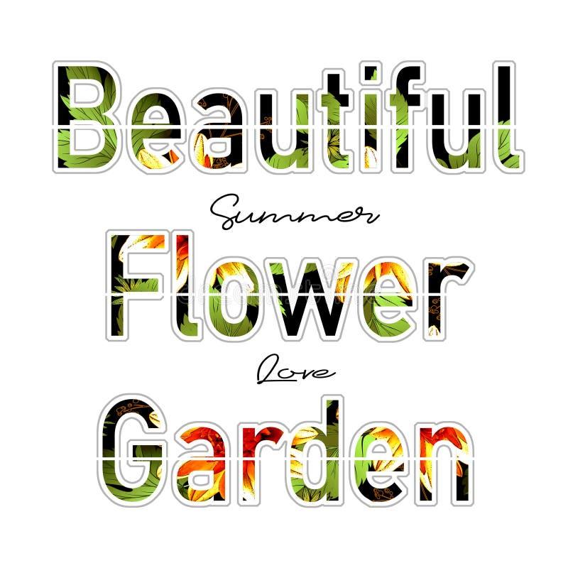 Impresión de moda de la camiseta de la moda para el modelo hermoso del diseño del texto del jardín de flores de la materia textil ilustración del vector