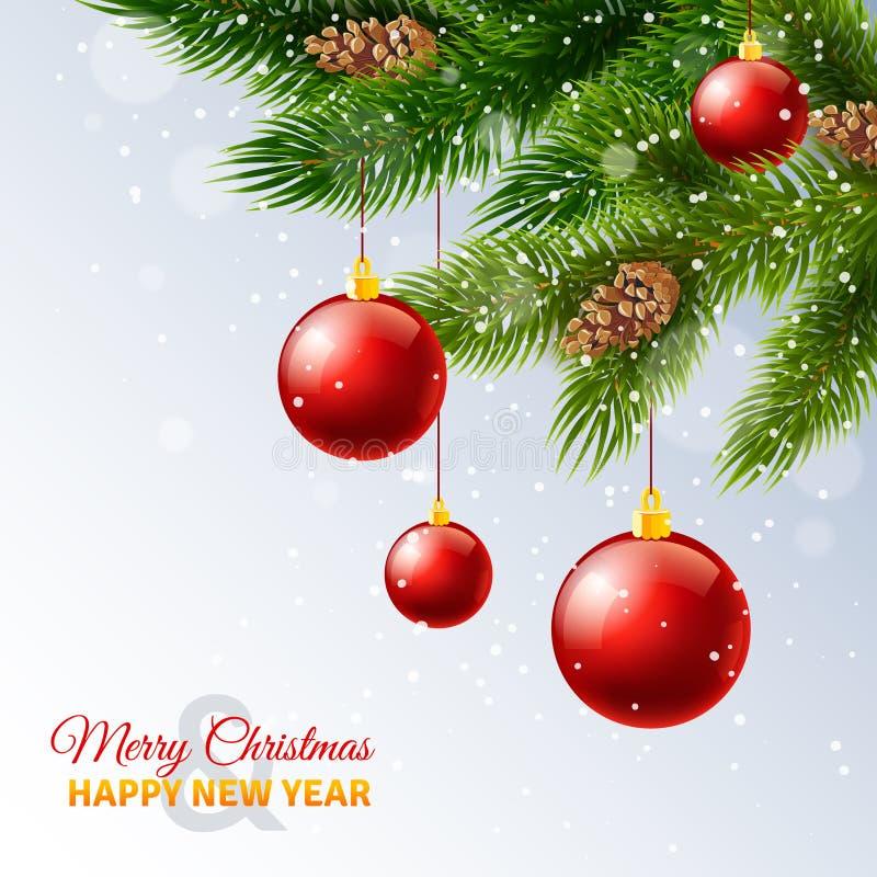 Impresión de tarjeta adornada de las ramas de árbol de navidad stock de ilustración