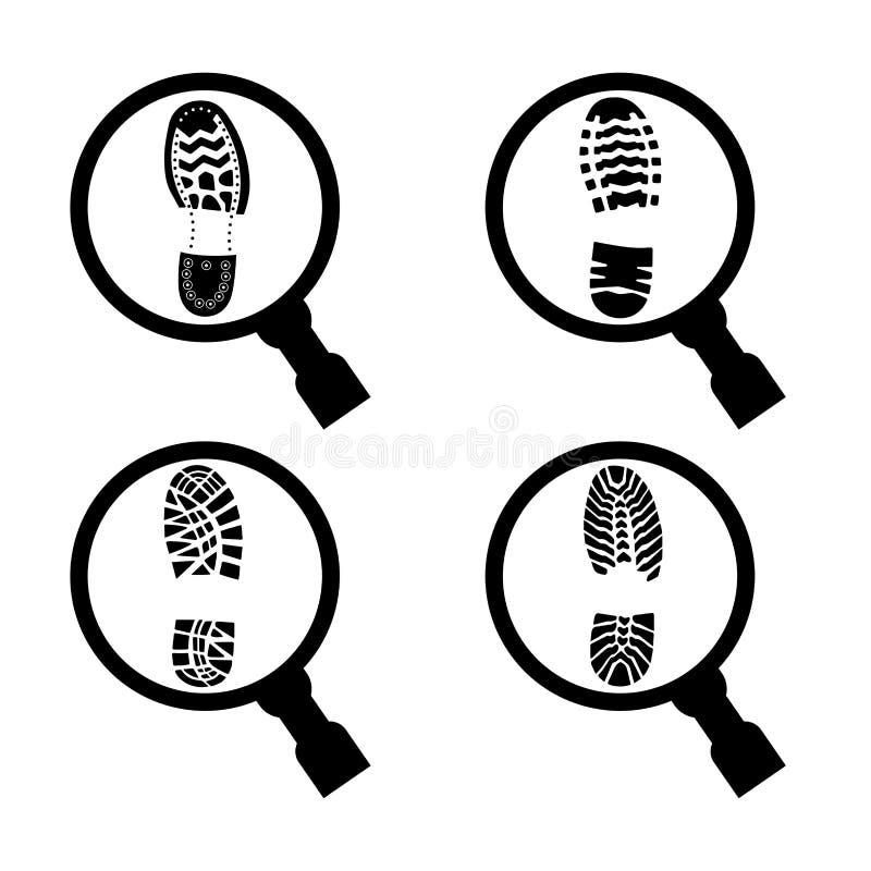 Impresión de un lenguado del zapato debajo de una lupa libre illustration