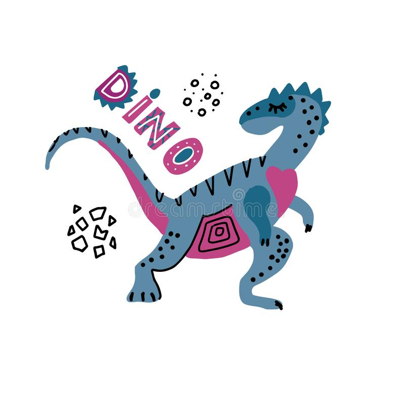 Impresión del bebé con Dino Elaphrosaurus Gráfico exhausto de la mano con letering para el cartel de la tipografía, tarjeta, etiq stock de ilustración