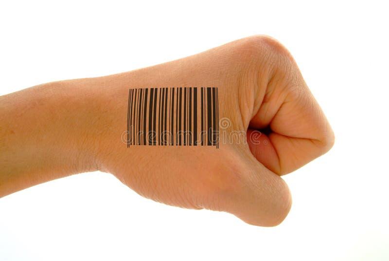 Impresión del código de barras en el puño imagen de archivo libre de regalías