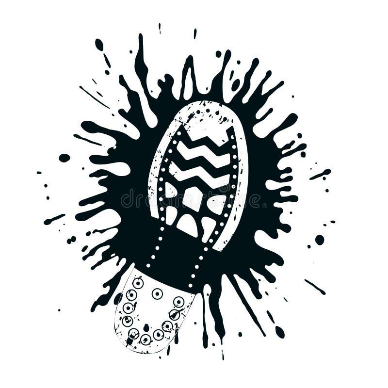 Impresión del calzado en un estilo del grunge de la piscina de sangre libre illustration