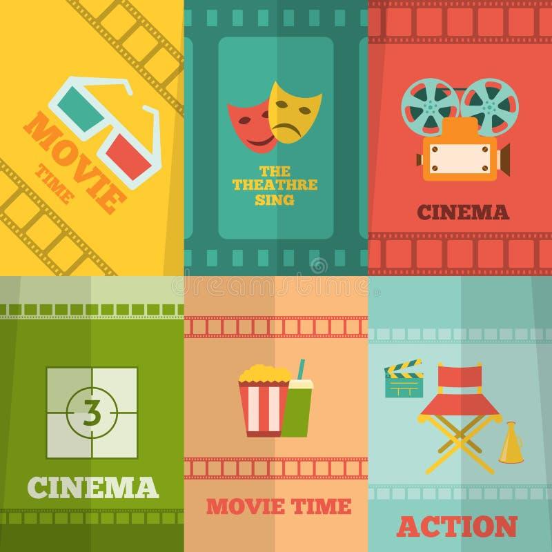 Impresión del cartel de la composición de los iconos del cine libre illustration