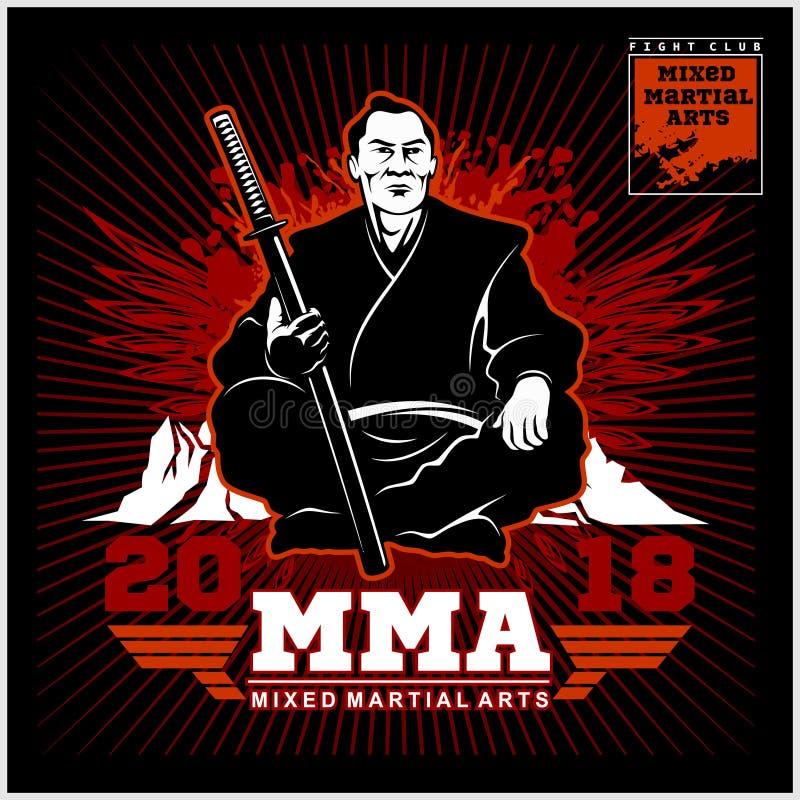 Impresión del club de la lucha con el samurai y el katana libre illustration