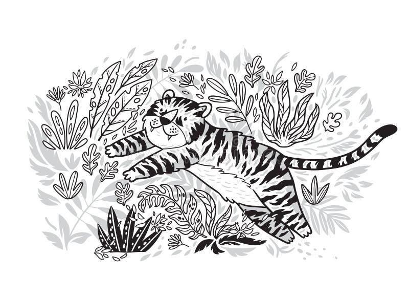 Impresión del contorno El tigre está saltando en jardín tropical Ejemplo blanco y negro del vector libre illustration