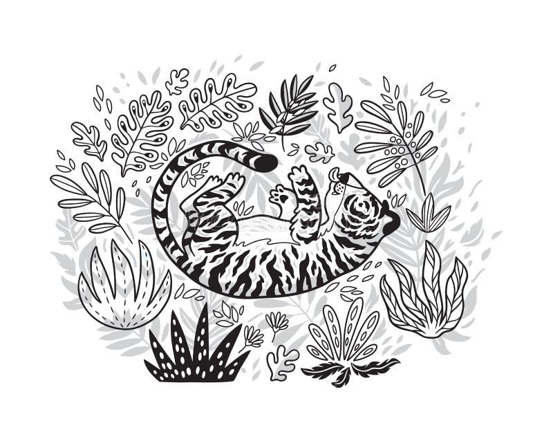 Impresión del contorno Tigre que juega con la hoja en jardín tropical Ejemplo blanco y negro del vector libre illustration
