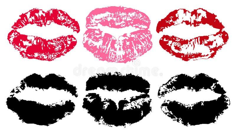 Impresión del lápiz labial Los labios remontan aislado en el fondo blanco, silueta del vector Sistema del beso libre illustration