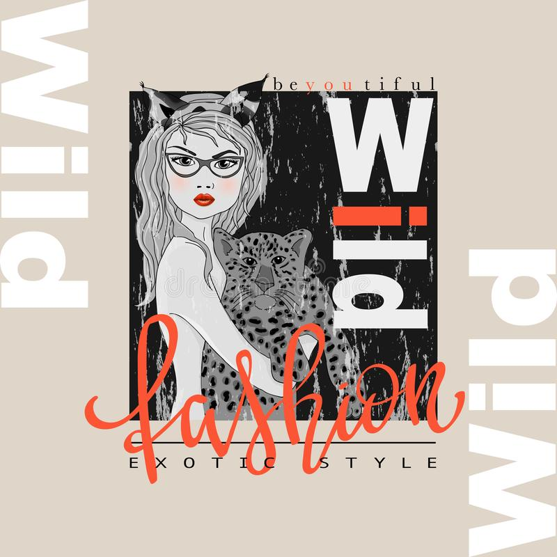 Impresión del lema de la moda con la muchacha y el leopardo del bw stock de ilustración
