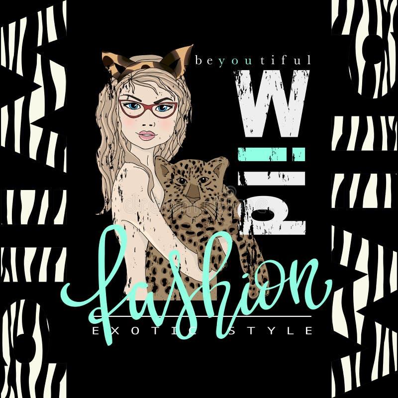 Impresión del lema de la tipografía de la moda con la muchacha y el leopardo hermosos stock de ilustración