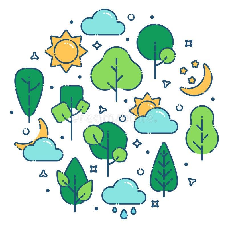 Impresión del paisaje del verano ilustración del vector