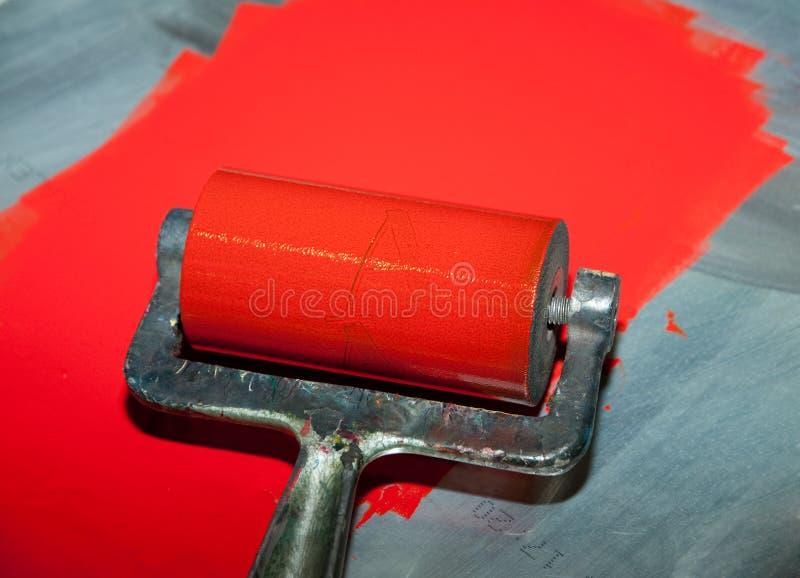 Impresión del rodillo con tinta roja foto de archivo libre de regalías