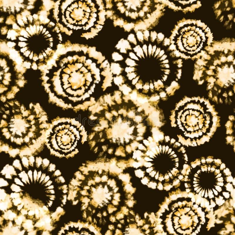 Impresión del shibori del teñido anudado del vector Modelo drenado mano inconsútil stock de ilustración