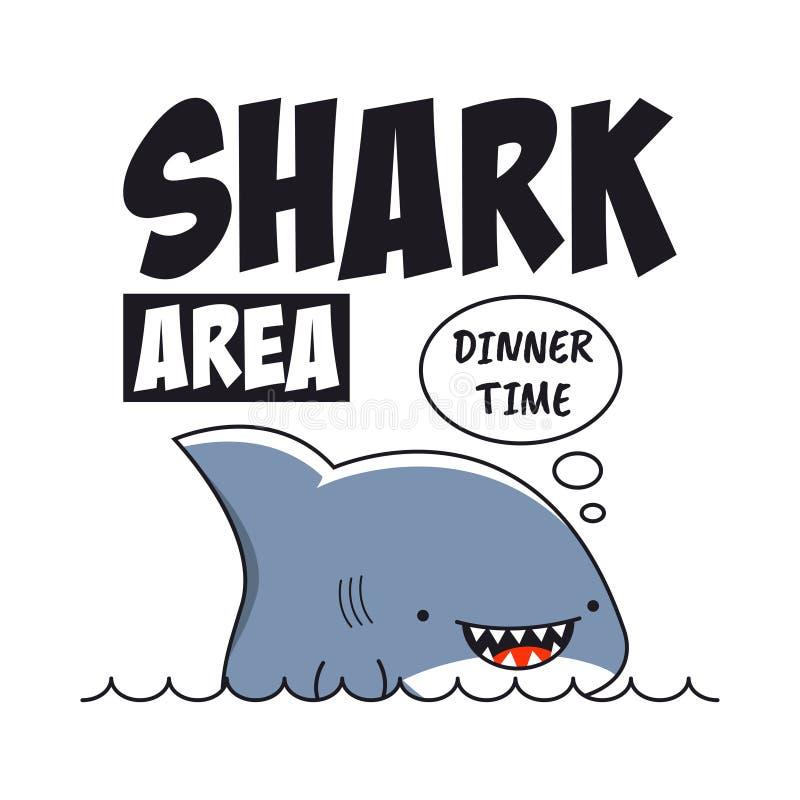Impresión del tiburón con el lema para la camiseta Tipografía de la camiseta Vector libre illustration