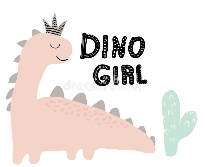 Impresión del vector de la muchacha del dinosaurio en estilo escandinavo ejemplo chldish para la camiseta, moda de los niños, tel stock de ilustración