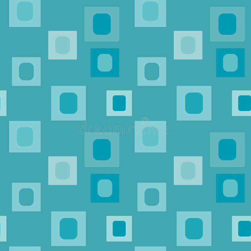 Impresión del vector de Teal Geometric Square Repeat Pattern de la turquesa stock de ilustración