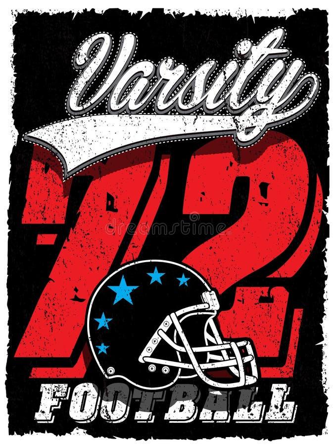 Impresión del vector del vintage del fútbol americano para la ropa de deportes del muchacho en cus libre illustration