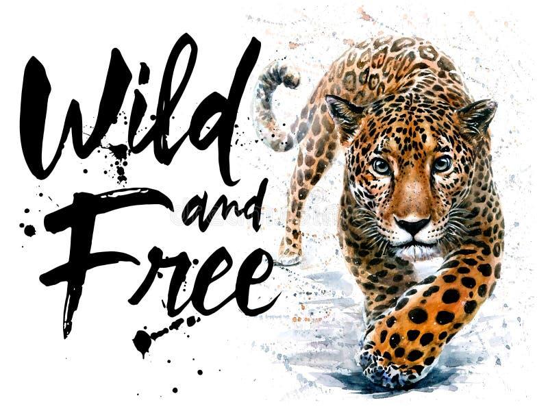 Impresión despredadora de la fauna de los animales de la acuarela de Jaguar, salvaje y libre de la fauna para la camiseta stock de ilustración