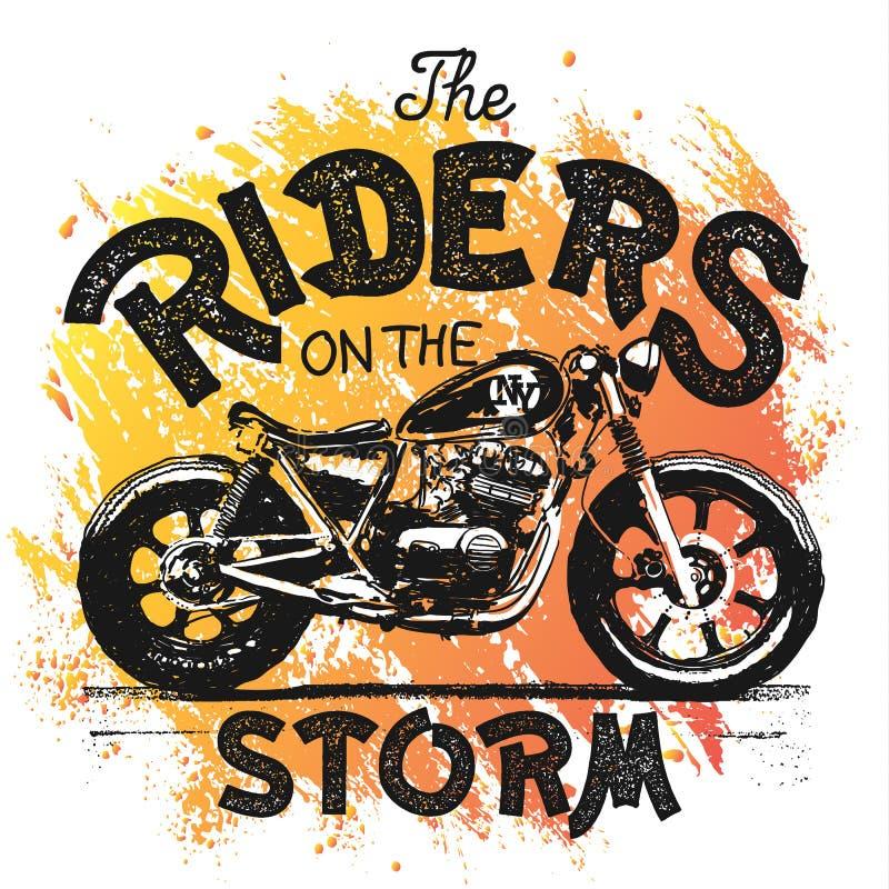 Impresión dibujada mano de la camiseta de la motocicleta del vintage libre illustration