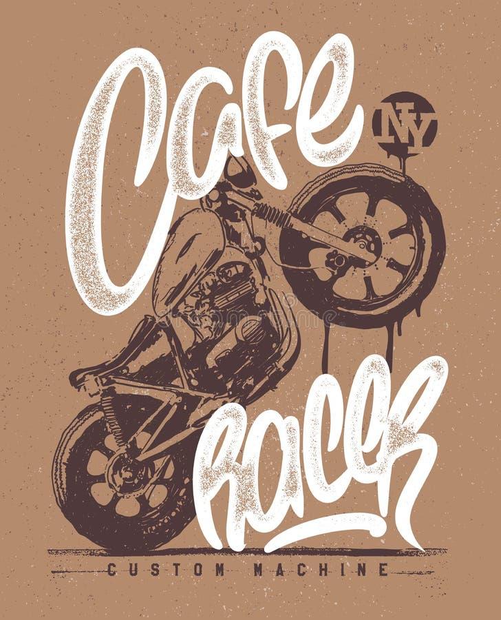 Impresión dibujada mano de la camiseta de la motocicleta del vintage del corredor del café libre illustration
