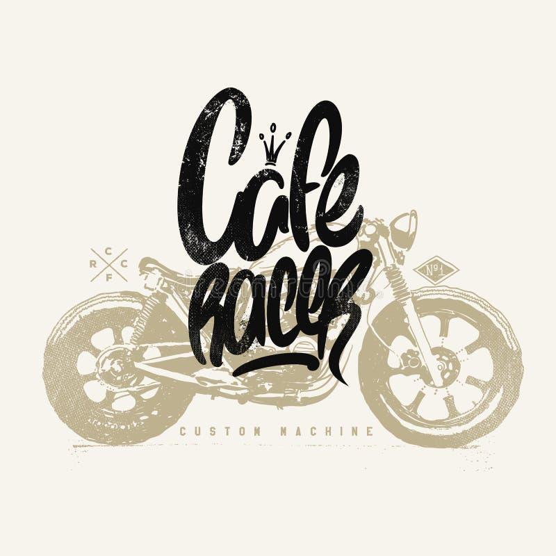 Impresión dibujada mano de la camiseta de la motocicleta del vintage del corredor del café stock de ilustración