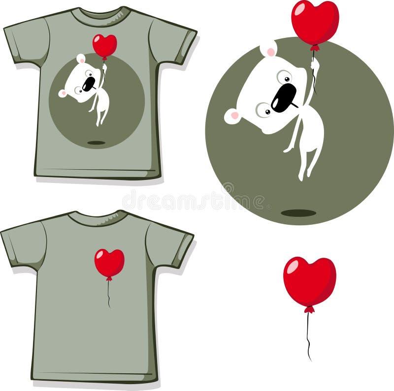 Impresión divertida de la camisa de la tarjeta del día de San Valentín con el globo del corazón y el diseño plano polar blanco de libre illustration