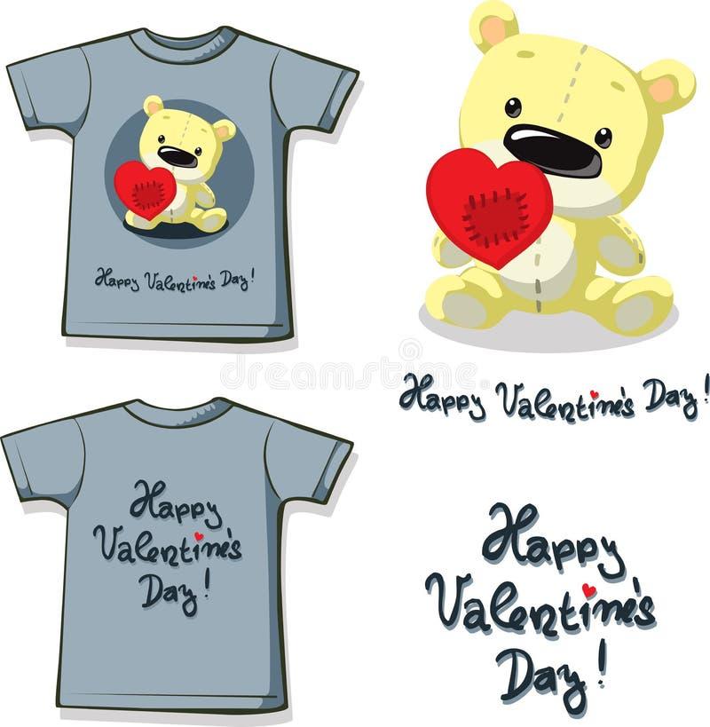 Impresión divertida de la camisa de la tarjeta del día de San Valentín con el oso de peluche que lleva a cabo un corazón remendad libre illustration