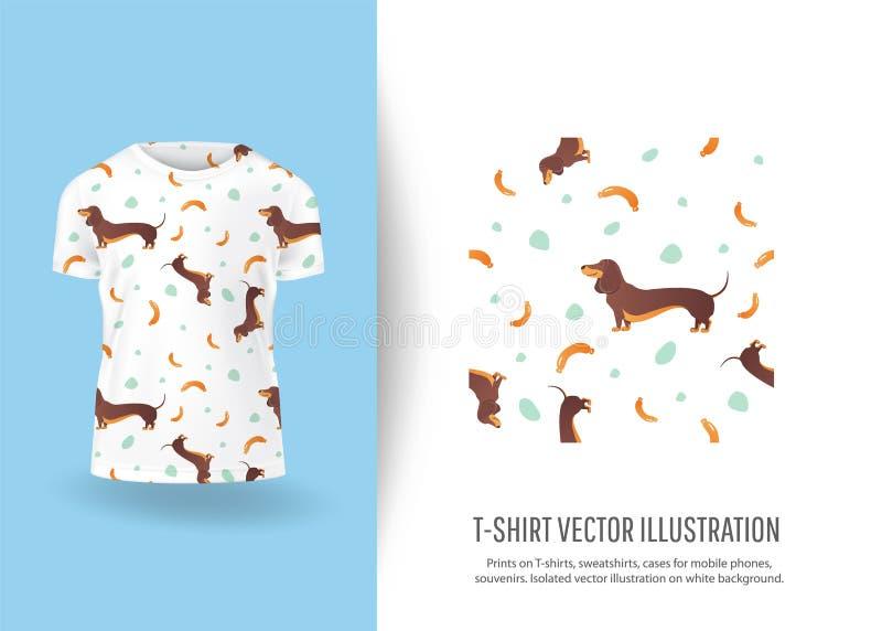 Impresión divertida de los perros en las camisetas libre illustration