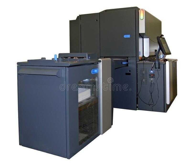 Impresión en offset de Digitaces - prensa de cuatro colores fotos de archivo libres de regalías