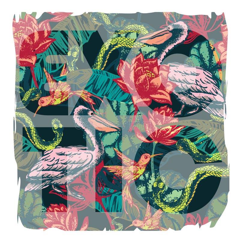 Impresión exótica tropical con el lema para el gráfico y otro de la camiseta stock de ilustración