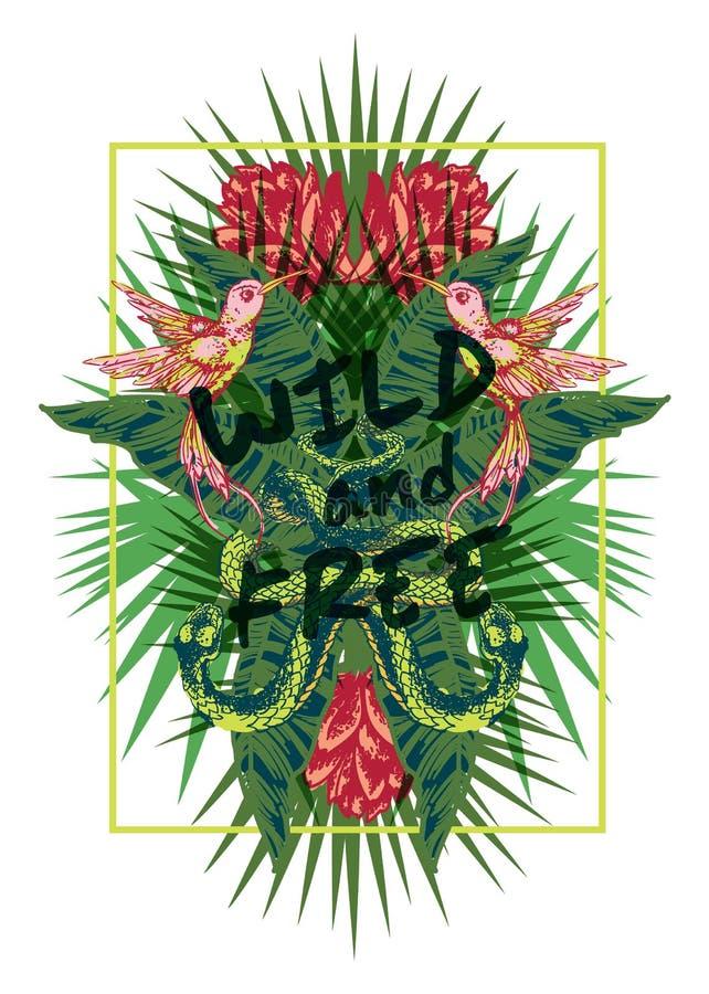 Impresión exótica tropical con el lema para el gráfico y otro de la camiseta libre illustration