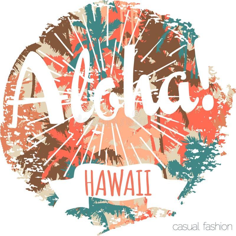 Impresión exótica tropical de Hawaii del vintage para la camiseta con lema ilustración del vector