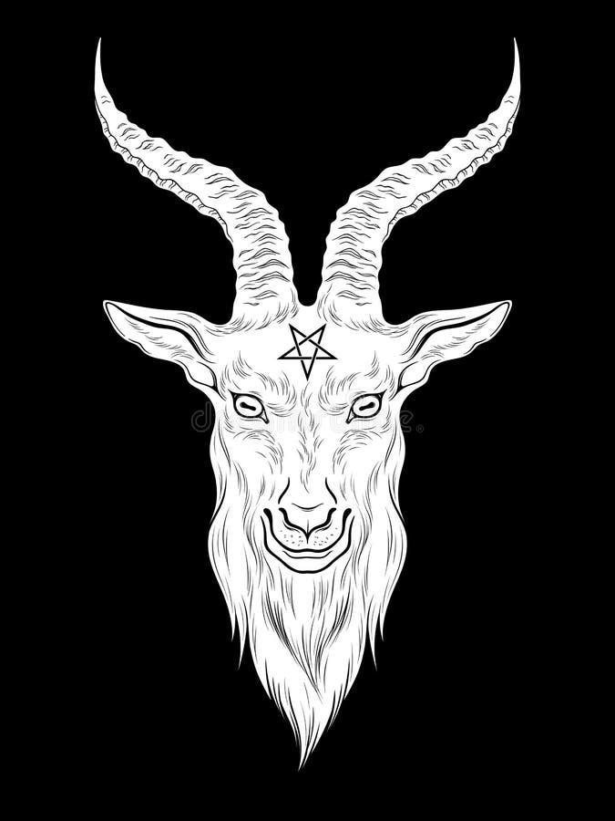 Impresión exhausta de la mano principal de la cabra del demonio de Baphomet o ejemplo de destello del vector del diseño del arte  ilustración del vector