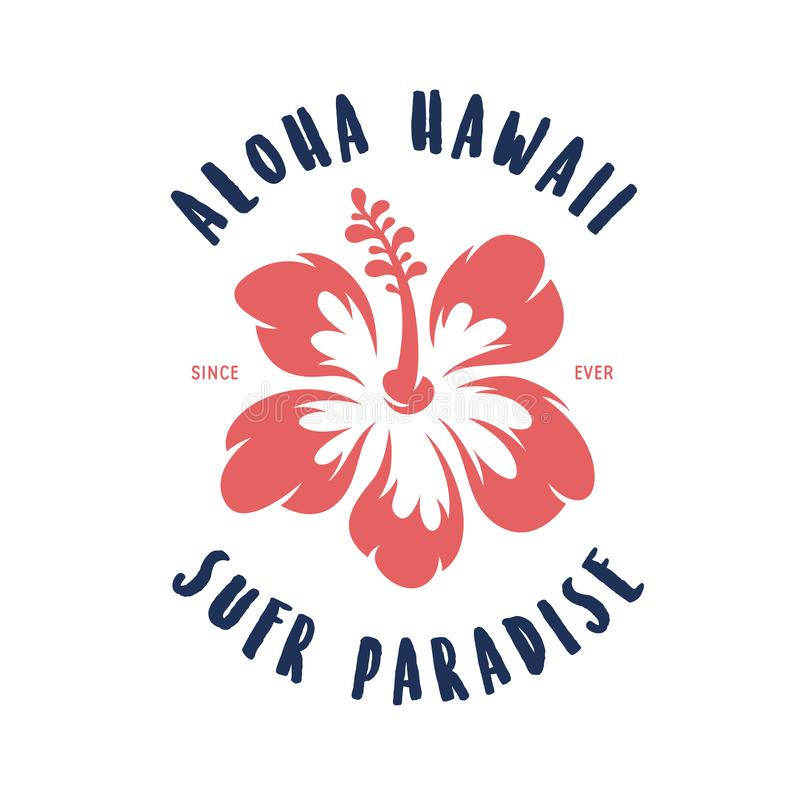 Impresión floral de la camiseta de Hawaii de la hawaiana Ejemplo del vintage del vector stock de ilustración
