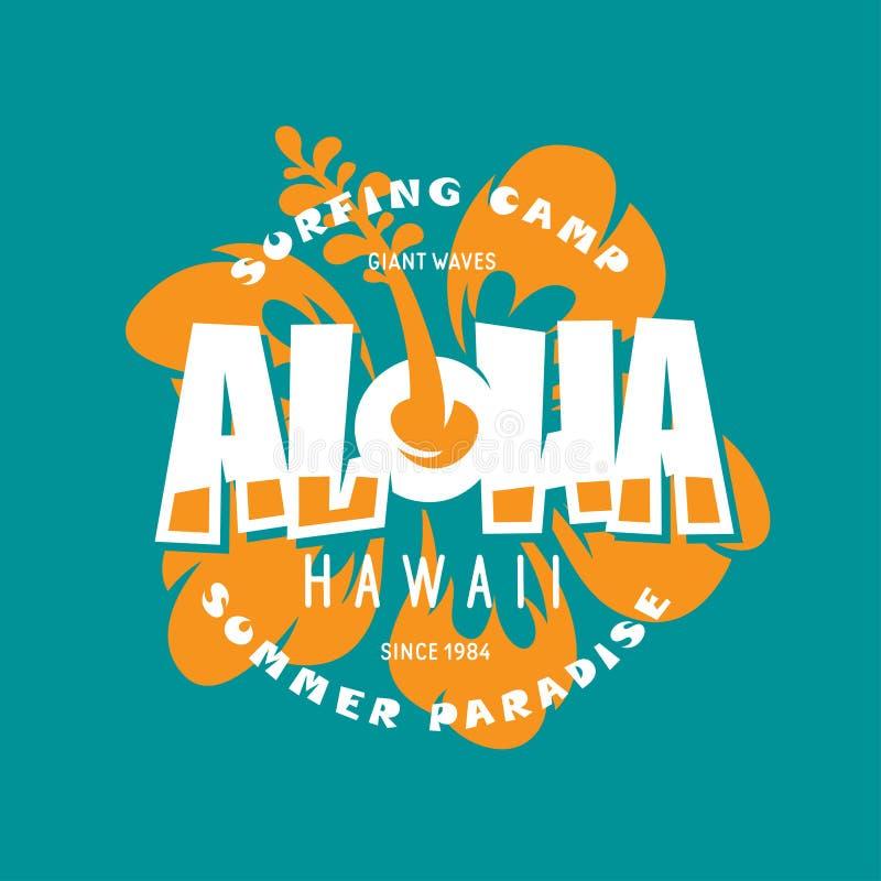 Impresión floral de la camiseta de Hawaii de la hawaiana Ejemplo del vintage del vector libre illustration