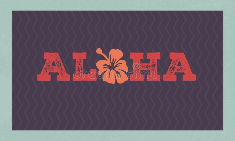 Impresión floral de la camiseta de Hawaii de la hawaiana Frase del paraíso del verano stock de ilustración