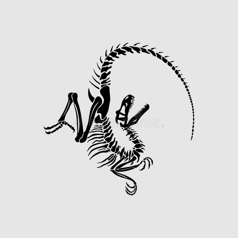 Impresión gráfica del esqueleto del Velociraptor ilustración del vector