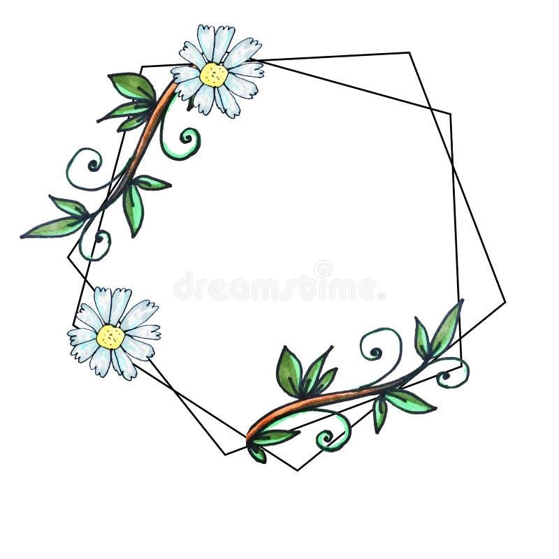 Impresi?n hexagonal de la frontera geom?trica Saludo lindo del jard?n, espacio de la copia Plantilla para las tarjetas de felicit stock de ilustración