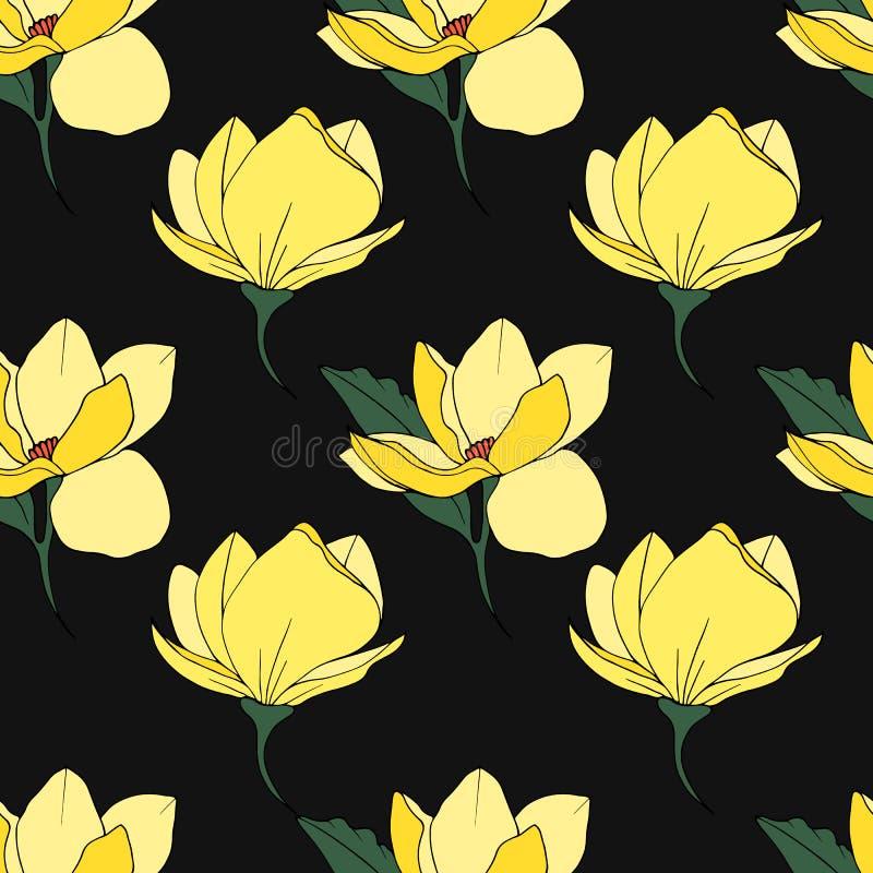 Impresión inconsútil de la magnolia stock de ilustración
