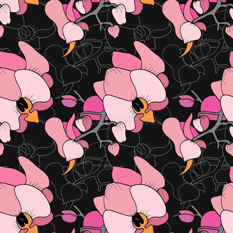 Impresión inconsútil de orquídeas stock de ilustración