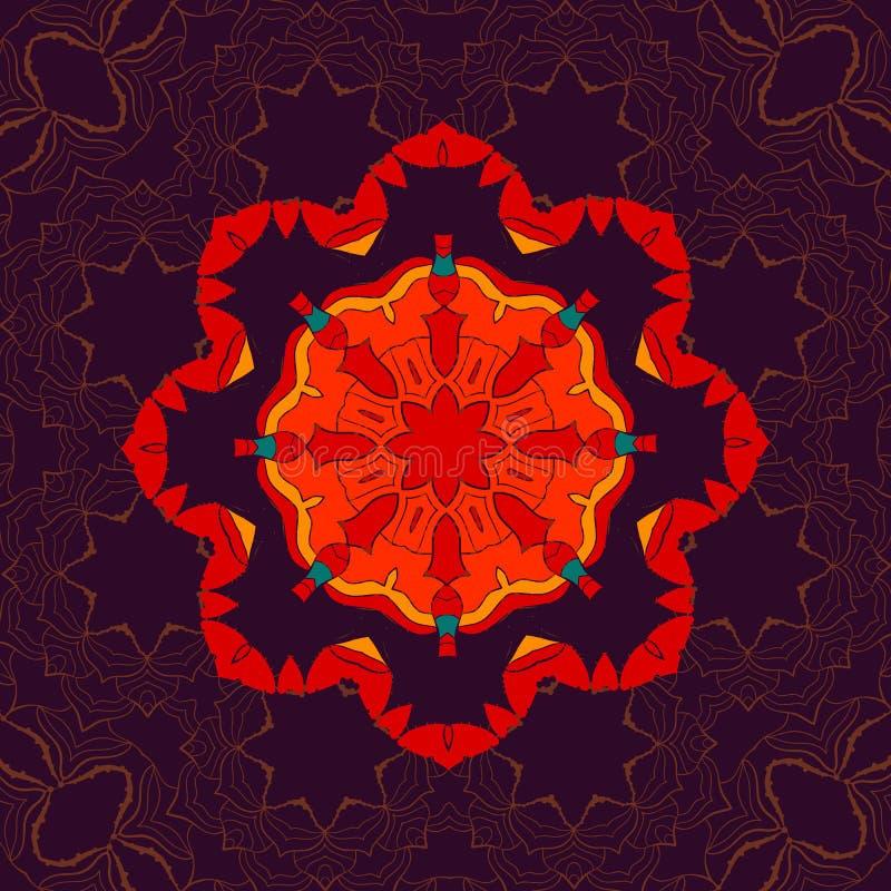 Impresión inconsútil floral india hermosa del ornamento Mandala Fabrik étnica Impresión de la meditación del estilo del budismo d ilustración del vector
