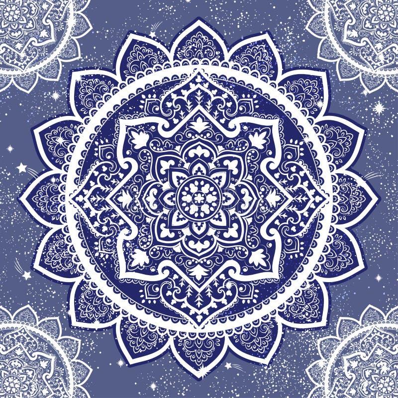 Impresión india bohemia de la mandala Estilo del tatuaje de la alheña del vintage ilustración del vector