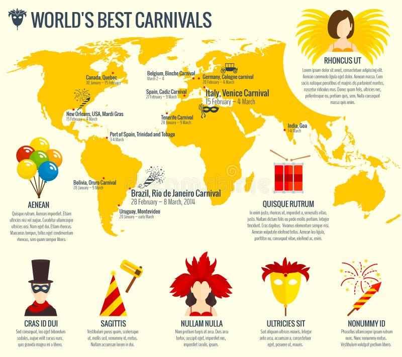 Impresión infographic del cartel del carnaval ilustración del vector
